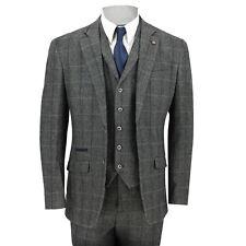 "Cavani Mens 3 Piece Tweed Suit Vintage Herringbone Grey Check Retro Slim Fit Chest UK 40 EU 50 Trouser 34"""