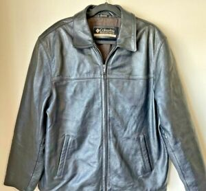 Columbia Black Leather Bomber Jacket Coat Biker Motorcycle Zipper Heavy Men XL