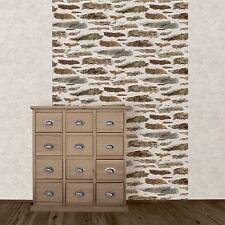 New Muriva - Rustic Brick Wall - Brown - Stone Wall Luxury Wallpaper 102559