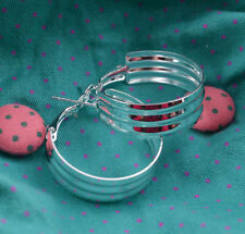 """Beautiful New Sterling Silver Plated 3 Row Band Design 1"""" Round Hoop Earrings"""