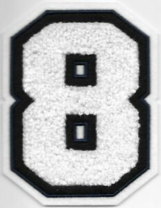 """4"""" Tall White Navy Blue Chenille Felt Athletic Number 8 Iron on Sew on patch"""