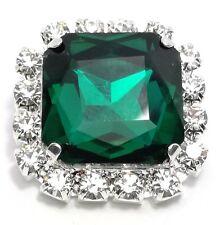 1 PEZZO Pietra Quadrata con strass Crystal e pietra Emerald mm 2,2x2,2
