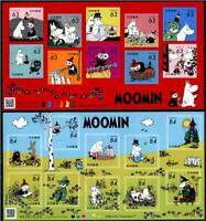 JAPAN 2021 MOOMIN (CARTOON) 63 & 84 YEN 2 SOUVENIR SHEETS OF 10 STAMPS EACH MINT