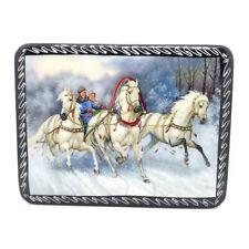 "Russian winter Lacquer box Fedoskino ""Russian troika"" Horse Decoupage Т35"