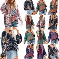 Womens Ladies Boho Floral Printed Long Sleeve Fashion Tops Casual Loose T Shirt