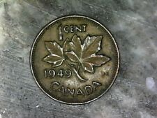 1949 KING GEORGE VI CANADA SMALL CENT--TYPE B--BRONZE COMPOSITION COIN---KM# 41