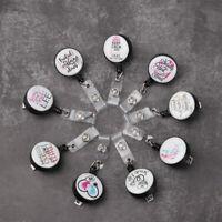 Anti-Lost Clip Retractable Nurse ID Name Card Key Ring Badge Holder Lanyards-<
