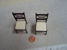 Vintage Renwal Miniature Dollhouse hard plastic Brown dining room chairs