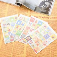 4 Sheets 80pcs Deco Craft Vintage Stamp Style Stickers Book Scrapbooking w/