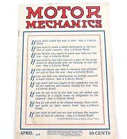 ".AMERICANA RARE APRIL 1918 ""MOTOR MECHANICS"" USA MAGAZINE"