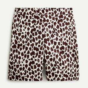 NWT J CREW SLIM BERMUDA SHORTS GIRAFFE PRINTED STRETCH CHINO SZ 12 high rise