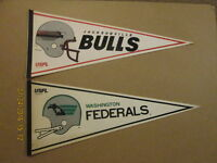 USFL Lot of 2 Federals & Bulls Vintage Defunct Pennants