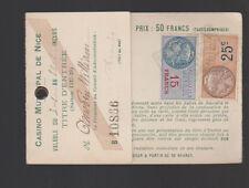 Casino Municipal de Nice 1927 1928 Titre d'Entree w French Timbre Fiscals