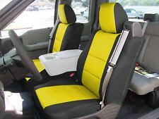 FORD F-150 04-08 S.LEATHER FRONT SEAT COVER BUILT IN SEATBELT BLACK/YELLOW