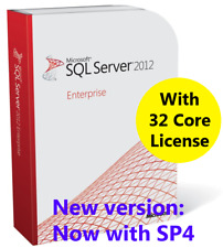 Microsoft SQL Server 2012 Enterprise with SP4. New Complete with 32 Core License
