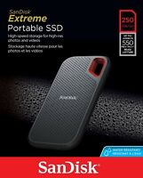 SanDisk  Extreme Portable External SSD 250 GB Read Speed up to 550MB/s -UK