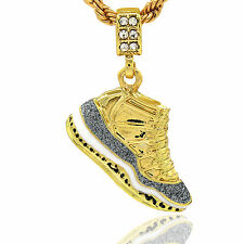 """Mens 14k Gold Plated Hip Hop Retro 11 """"Cool Grey"""" Pendant 4mm 24"""" Rope Chain"""