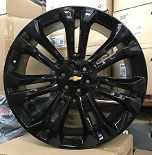 "24"" GMC 1500 Sierra Gloss Black Tires Rims Denali Chevy Silverado Tahoe Wheels"