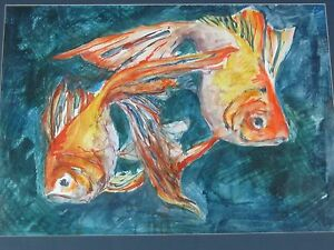 """Vintage Original Painting """"Goldfish"""" by V Hauser Listed?"""