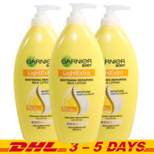 400ml x 3 Garnier Light Extra Whitening Repairing Milk Body Lotion Lemon Essence