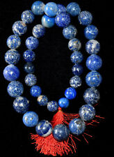 """Huge Antique Chinese Lapis Lazuli Round Ball Beads Necklace 30"""" Long"""