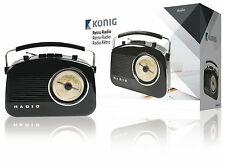 Konig Black Retro 1950 1960s AM/FM Portable Table Radio - BRAND NEW