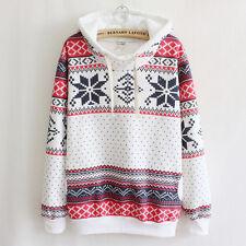 Women Hooded Hoodie Jumper Sweater Xmas Snowflake Sweatshirt Winter Pullover Top