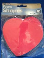 Foam Shapes Hearts Red 10 pcs lot large 4 1/2 inches Tiny Crafts Craft supplies