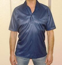 Vintage Men's Navy Polka-Dot One-Button Placket Cuffed Short-Sleeve Shirt Size M