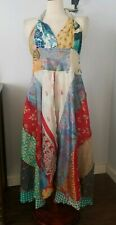 New India handmade Patchwork Nothing Matches Silk Halter Dress Boho M/L gypsy