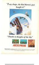(-0 -) JEU D'ARCADE RARE PUB chevaliers du ciel Micro Prose Poster Amiga Atari