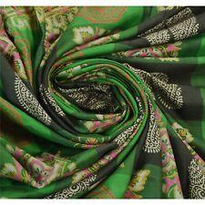 Tcw  Vintage  Sari 100% Pure Silk Green Sarees Printed Craft Fabric
