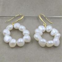 5-6mm White baroque pearl earrings DIY 18k Hook cultured gorgeous elegant round