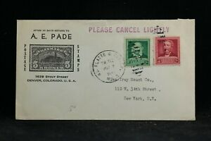 RPO: No Platte & Denver 1949 Pade Stamp Dealer Ad Cover, Me & Co Railroad