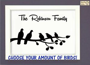 Personalised Birds Print Poster Picture Wall Art Gift Family CHOOSE AMOUNT A3 A4