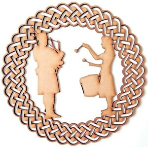 Wooden MDF Blank shape - Piper and drummer in Celtic ornamental round frame