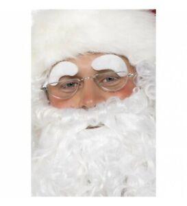 Smiffy's Santa White Stick On Old Man Wizard Eyebrows Christmas Fancy Dress