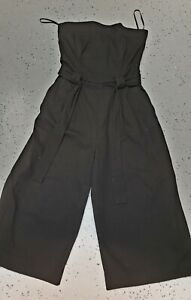 💜 FRENCH CONNECTION Cotton Strapless Jumpsuit Black Size 12 Buy7=FreePost L865