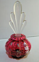Fenton Cranberry Hand Painted signed by artist Perfume Bottle