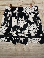 NECESSARY OBJECTS Womens Black White Floral Full Skirt Medium Pockets Retro Mod