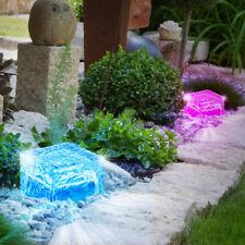 Set of 2 Solar Lights Decoration Exterior Lamps Ice Cubes Glass Blocks