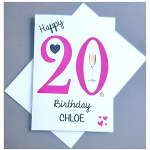 Personalised 20th Birthday Card Female 20 Years Old Daughter Granddaughter Niece