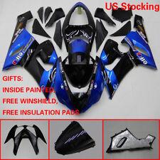 RA US BLK Blue Fairing Bodywork Injection Kit Windscreen For Kawasaki ZX6R 05-06