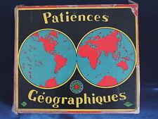 UNIS-FRANCE : PATIENCES GEOGRAPHIQUE ancien puzzle bois carte France Planisphère