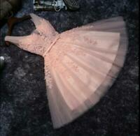 Lady Sleeveless Short Cocktail Party Dress Pink Tulle Prom Party Ball Gown Lace
