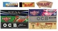 KING SIZE ROLLING PAPERS RIZLA MICRON + OCB BLACK XPERT, HORNET HEMP, JUICY JAYS