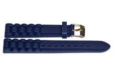 16MM BLUE RUBBER LINK WATERPROOF SPORT DIVER WATCH BAND STRAP