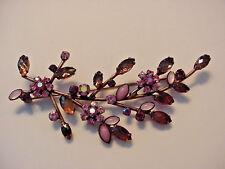 Joan Rivers Pin Brooch Deep Mauve Plum Pink Rhinestones Floral Copper Setting