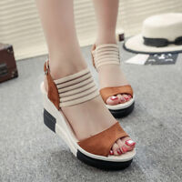Women's Casual Fish Mouth Sandals Shoes Wedge Platform Heel High Open Toe Buckle