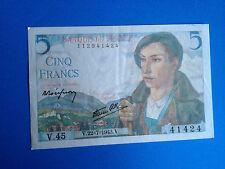 BILLET 5 FRANCS BERGER 1943 / French Money